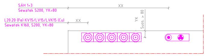 Sewatek-läpivientien putki- ja sähkömerkinnät elementtikuvissa.
