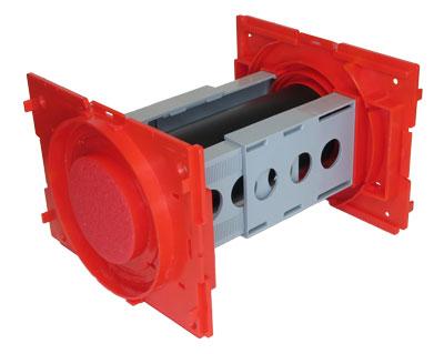 Seinän sisään valettava S-sarjan sähköläpivienti mahdollistaa kaapeliniput halkaisijaltaan aina 50 mm asti.